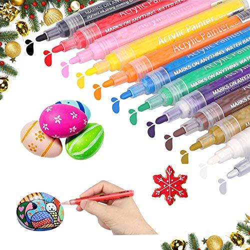 Acrylic Paint Pens Markers,Premium WaterProof Paint Art Marker Pen Set for Rock Painting,Glass,Ceramic,Canvas,Wood,Fabric,Mugs,DIY Craft Making Supplies,Scrapbooking Craft,Card Making.(12 Colors)