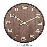 DKEE Reloj de Pared Números Árabes 3D Únicos Reloj De Pared Decorativo De Grano De Madera Natural Reloj De Cuarzo Silencioso Marrón 14 Pulgadas