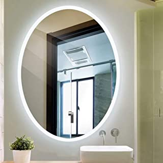 600X800mm Modern Oval Illuminated LED Bathroom Mirror HD Imaging Hanging Makeup Vanity Mirror for Hotel Living Room WC (Color : White Light, Size : 500x700mm)