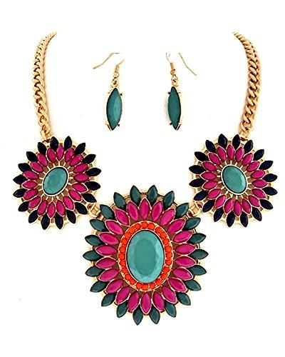 Luxus colgante Chic trendhouse GmbH cadena pendientes colgantes 3D escalones azul Colour rosa colour azul - Naranja