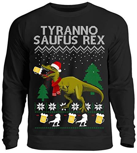 Kreisligahelden Ugly Christmas Sweater Herren Lustig Tyrannosaufus Rex - Pullover Baumwolle mit Motiv Aufdruck - Weihnachten Party Ugly Christmas Fun Saufen Bier (Schwarz, M)