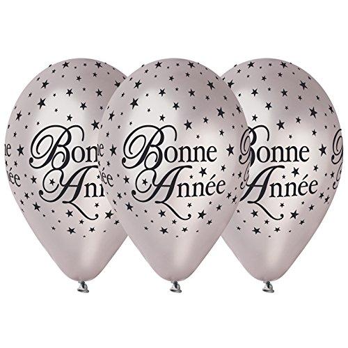 Aptafêtes - BA21465/ARGENT - Sachet de 50 Ballons Bonne Année - Diamètre 30 cm - Argent