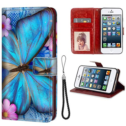 FAUNOW Funda tipo libro para iPhone 5/5S/SE con tarjetero y cierre de piel sintética con mariposa, resistente
