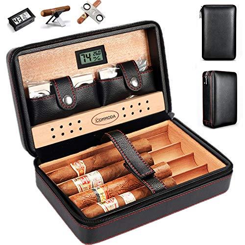 COMMODA Portable Genuine Leather Cedar Cigar Travel Case Cedar Humidor with Digital Hygrometer Cutter Stand Set Wooden Box …
