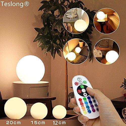 ランプ 間接照明 改良型Teslong® ボールライト リモコンランプ USB無線ランプ 16色の変換ランプ IP68防水ライト ムードライト シェードライト フロアライト 卓上ライト ボールライト 災害緊急ライト 常夜灯 北欧風おしゃれLED対応 寝室照明 インテアLED電球 USB充電 バレンタインギフト、クリスマスパーティ、子供の部屋 デスク バレンタイン クリスマスパーティー 母の日 父の日 クリスマス LEDバーライト 等,プレゼントに最適です。(15cm)
