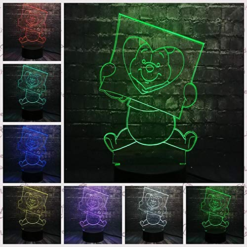 Nieuwe Leuke Honing Beer 3D Led Nachtlampje Illusie Kids Slaapkamer USB Lamp Slaap Lamp 7 Kleur Verander USB Basisbatterij