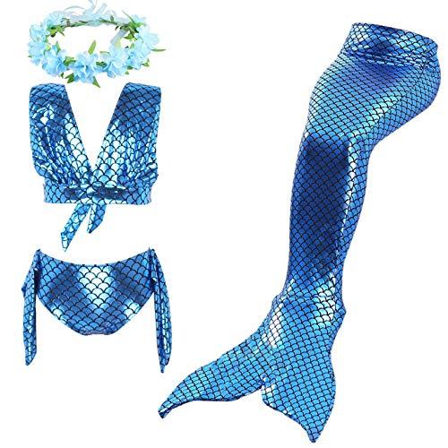 Ousyaah 3 piezas Bikini Sirena para Nias Traje de Bao de Disfraz de Sirena Princesa Mermaid Swimsuit con Diadema Guirnaldas