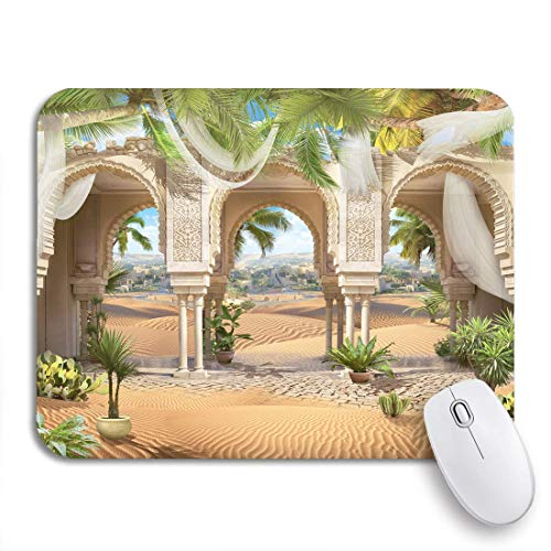 Gaming mouse pad schöne orientalische bögen weiße vorhänge und sunny hot desert rutschfeste gummi backing computer mousepad für notebooks mausmatten