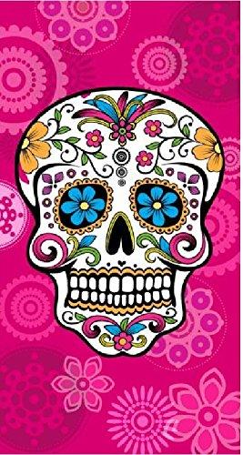 The Best Fashion House Toalla de Playa diseño Calavera Mexicana 100% Algodon (3 Colores y 2 tamaños) (Fucsia, 95 x 175 cm)