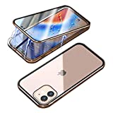 RANYOK Magnetic Case Compatible with iPhone 12 Pro Max (6.7 inch), Magnetic Metal Frame Clear Double-Sided Tempered Glass with Built-in Screen Protector for iPhone 12 Pro Max (Gold)