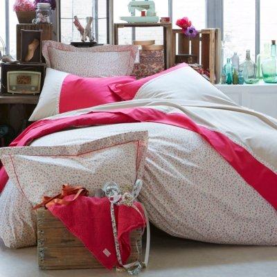 Essix - Taie d'oreiller Laurette Percale de Coton Azalée 50 x 75 cm