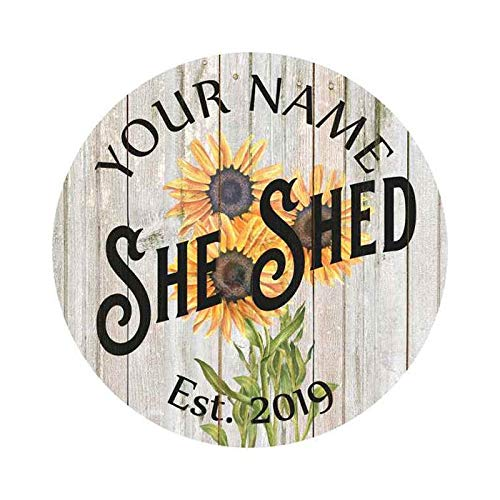 Neti6rns Your Name Personalized She Shed Chic Farmhouse Style White Wood Sign Wall Dcor Gift