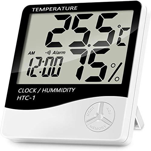 Niaguoji - Termometro Digitale LCD con igrometro, accurato misuratore di temperatura ambiente e di umidità, con sveglia, per camera da letto, ufficio, magazzino, cucina, serra, ecc.