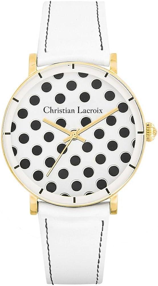 Christian lacroix orologio da donna cassa in acciaio e cinturino in vera pelle CLWE41