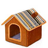 CXHMY Zwinger kleines Hundehaustiernest Teddy Vier Jahreszeiten waschbar kleines Haus mittelgroße Bomei geschlossene Katze Villa Herbst und Winter (Farbe: Braun, Größe: M)