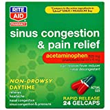 Rite Aid Non-Drowsy Daytime Sinus Congestion & Pain Relief, Rapid Release Gelcaps - 24 Count | Nasal Decongestant | Cold Medicine for Adults | Allergy Medication | Allergy Relief | Sinus Relief