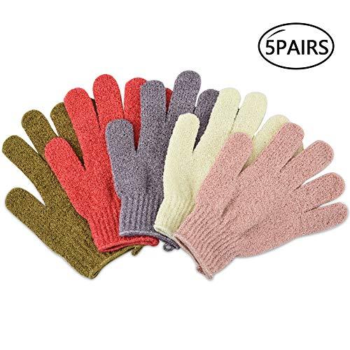 Vathery Peeling Dusche Handschuhe 5 Paar Körper Massagehandschuh für Frauen Kinder
