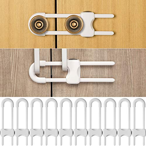 10 Pieces Sliding Cabinet Locks, Baby U-Shaped Proofing Cabinets with Adjustable Safety Child Lock, Easy to Use Childproof Latch for Knob Handle on Kitchen Storage Door Cupboard Closet Dresser (White)