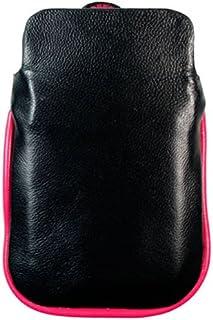 Kroo BARE Premium Leather Case Designed for Apple iPhone 3G/3GS - Black/Magenta Free White iPhone EarPhones.
