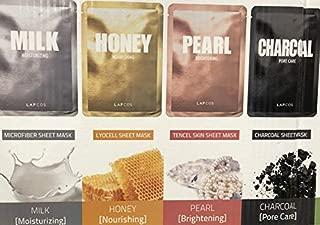 LAPCOS Daily Skin Facial Sheet Mask 4 Type /8 Pack - 2x Milk, 2x Honey, 2x Pearl, 2x Charcoal + 1x Milk Feel Cleansing Pad, Variety Set Korean Beauty Salon