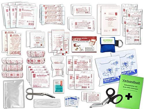 Komplett-Set Erste-Hilfe DIN/EN 13 169 PLUS 1 für Betriebe mit Notfallbeatmungshilfe & Verbandbuch incl.Alkoholtupfer + Pinzette