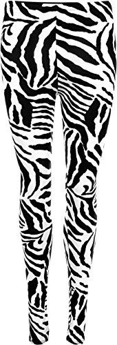WearAll - Damen Zebra-Schwarz Weiß Tier Druck-Gamaschen - Schwarz Weiß - 36-38