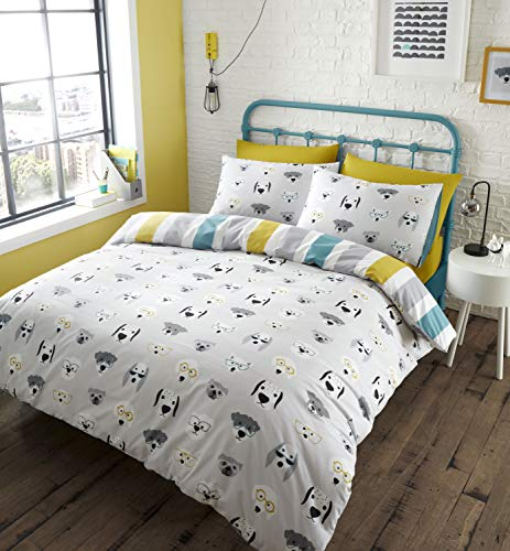 Catherine Lansfield Cool Dogs Easy Care Double Duvet Set Grey