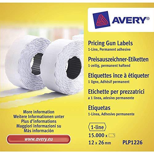 AVERY Zweckform PLP1226 Etikettenrolle (15.000 Stück, 1-zeilig, permanent haftend, 12 x 26 mm) 10 Rollen weiß