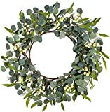 NeoL'artes 20'' Farmhouse Natural Artificial Green Eucalyptus Leaf Wreath Berry Spring Summer Wreath for Front Door Year Round Decor