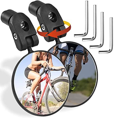 Espejo Retrovisor Bici, Retrovisor Bicicleta, Bicicleta Manillar Espejo Retrovisor 360 Grados, 2pcs Retrovisor Manillar Espejos para Patinete,Bici Montaña, Carretera Bici