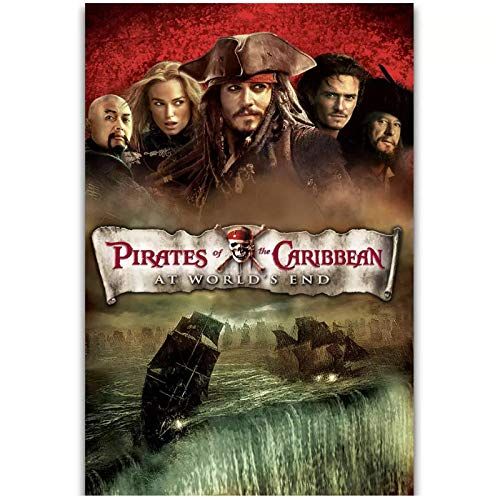 wzgsffs Pirates of The Caribbean At World'S End Classic Movie Póster De Arte De Pared E Impresiones Impresas En Lienzo para La Sala De Estar Home-24X32 Inchx1 Frameless