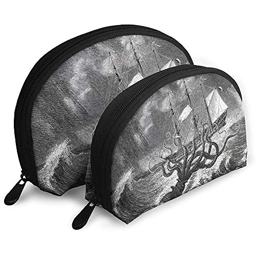 Duschvorhang Segelboot Wellen Octopus Tragbare Taschen Make-up Kulturbeutel Multifunktions Tragbare Reisetaschen Kleine Make-up Clutch Pouch