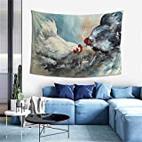 Wall Decoration Tapestry - Cute Chicken Artwork Painting Hippie Art Tapestry Wall Hanging - Extra Large Tablecloths 60 x 40 Inch for Bedroom Living Room Dorm Room Home Decor