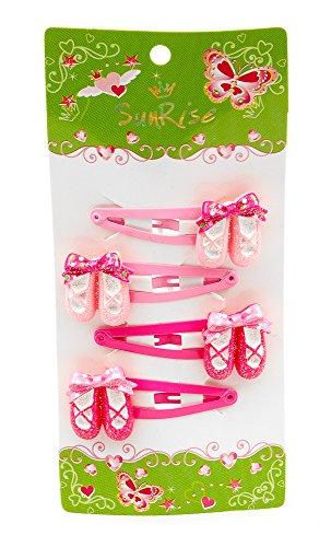 Katz Dancewear Girls Pack Of 4 Pink Dance Ballet Shoe Hair Clips HA-02 Christmas Stocking Filler Birthday Gift Present