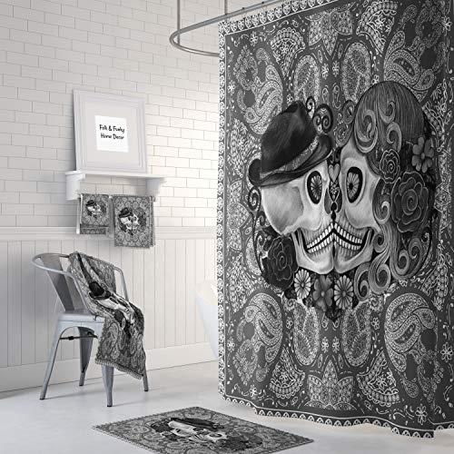 Alicert5II Sugar Skull Douchegordijn Kissing Skulls Grey Bandana Design s Schedel Douchegordijn Schedel Decor