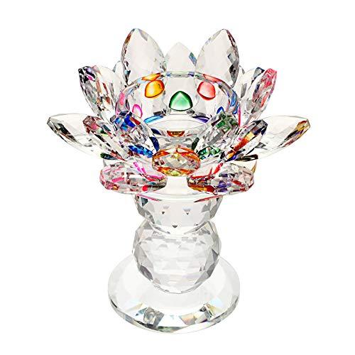 Sumree - Portacandela in vetro, portacandela a forma di fiore di loto, supporto per candela, decorazione a base di sfera, multicolore