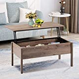 MTFY Lift Top Coffee Table Rustic Square Coffee Table with Storage, Adjustable Modern Furniture Hidden Storage Compartment, Wood Coffee Table for Home Living Room (Oak)