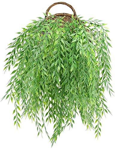 NAHUAA 4 Pcs Künstlich Dekopflanze Bambusblätter Kunstpflanzen Hängend Künstliche Pflanze Efeu Deko Unechte Hängepflanze für Wand Outdoor Topf Hängeampel Balkon Garten Dekoration Grün