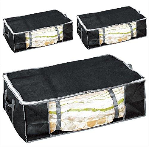 圧縮プラス ふとん圧縮袋 収納ケース ブラック 3個セット 布団用 幅75×奥行50×高さ25cm