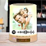 Codice Spotify personalizzato Luce notturna Lampada di testo con foto Lettore musicale Altoparlante Bluetooth Ricarica USB Lampada da tavolo colorata dimmerabile Regalo di compleanno di Natale