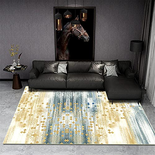 alfombra juegos Amarillo Alfombra de salón amarillo azul abstracto patrón simple alfombra duradera alfombras juveniles para dormitorio 120x200cm cuadros cabecero cama matrimonio 3ft 11.2''X6ft 6.7''