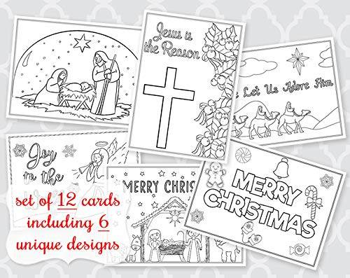 Christmas Coloring Greeting Cards Holiday Greetings Jesus is the Reason Christian Religious Coloring Pages Cards Bible Flat Cards Kids Adult DIY Crafts Grandchildren Assortment Pack (12 Count)