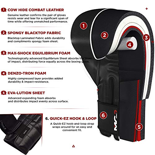 RDX Boxing Gloves Training Sparring Punching Glove Cow Hide Leather Muay Thai Fighting Bag Mitts kickboxing, Black/White, 14 oz