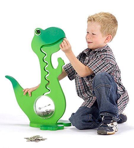 Big Belly Bank Dino Kugelbahn Spardose 60cm - Made in Switzerland (Grün Zweifarbig)
