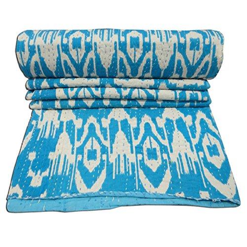 Indian 2 Turquoise Ikat Parure de lit Vintage Kantha Couvre-lit en coton indien sari chambre Beddiing Gudri Luxury Couverture décorative faite à la main 60 x 90 Pouces/15–Inch Par Bhagyoday