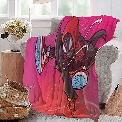 HouseDecor Mantas Spiderman Miles Morales Ilustración manta para cama sofá de 200 x 160 pulgadas