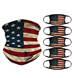 American Vintage Flag Face Mask Bandana, 5 pcs Reusable Cotton Mask Cover and 1 Seamless Face Scarf, Breathable Balaclava Neck Gaiter for Dust, Outdoor, Sports