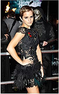 Emma Watson In Black Feather Mini Dress At Harry Potter Deathly Hallows Part 1 Premiere 8 x 10 Inch Photo