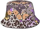 BONRI Sombreros de Cubo Transpirables con Parte Superior Plana Unisex Amistad Impresiones a Mano Sombrero de Cubo Verano Sombrero de Pescador-Flor Animal Mix Print-One Size