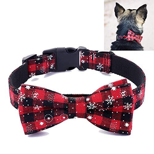 Egurs Weihnachten Hundehalsband Pet Halsbänder mit Schleife Bögen Einstellbare Schneeflocke Muster Fliege Halsband Katzenhalsband für Puppies kleine mittlere und große Hund Katze rot L